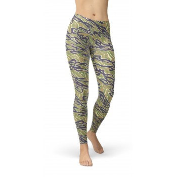 Camouflage Tiger Stripe Vietnam 2 Pattern Camo Leggings
