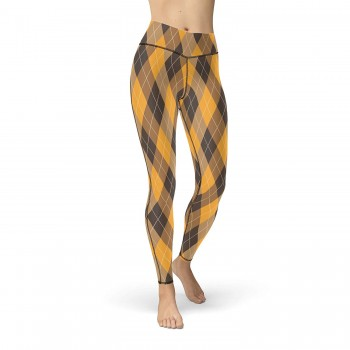Golf Plaid Argyle Yellow, Brown and Black Leggings for Women