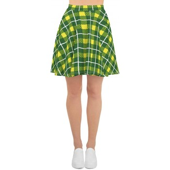 Plaid & Check Skater Skirt, St. Patty's Day Green & Yellow