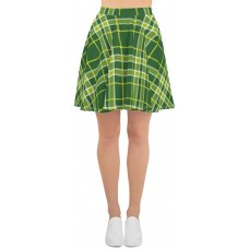 Plaid & Checkered Skater Skirt St Patty's Day Green Squares with Yellow Stripes