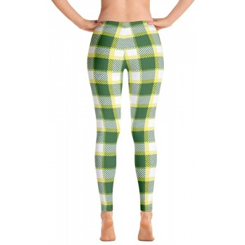 Plaid and Checkered Leggings, Green White Yellow Plaid 600 for St Patty's Day