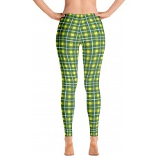 Plaid and Checkered Leggings, Green and Yellow 250 for St Patty's Day