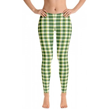 Plaid and Checkered Leggings, Green White Yellow Plaid 200 for St Patty's Day