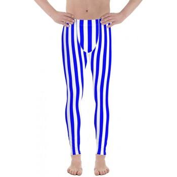 Blue and White Striped Men's Leggings