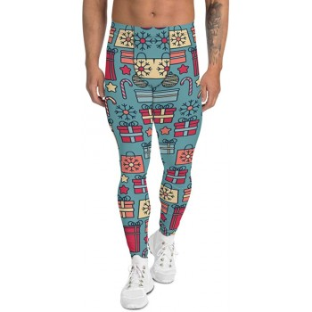 Men's Christmas Candy and Presents Pattern Printed Sweater Leggings (Blue)