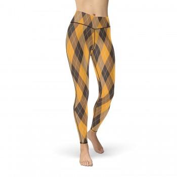 Golf Plaid Argyle Yellow, Brown and Black Leggings for Women