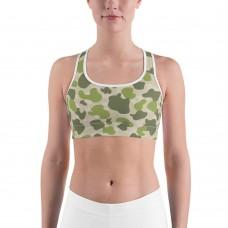 Camouflage Jungle Green Parachute Pattern Camo Sports Bra