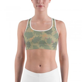 Camouflage Wine Leaf Pattern Camo Sports Bra