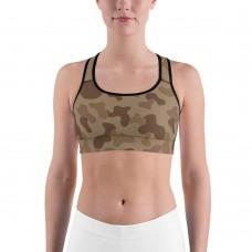 Camouflage Jungle Brown Pattern Camo Sports Bra
