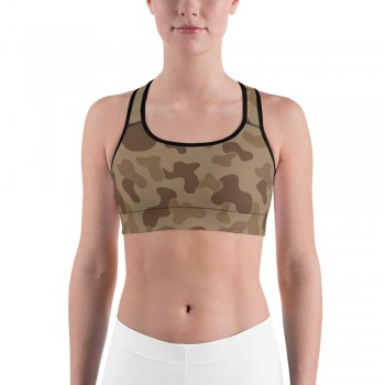 Camouflage Jungle Brown Pattern Camo Sports Bra