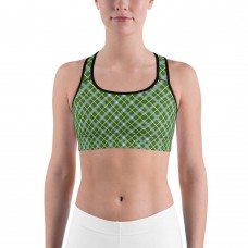 Plaid & Checkered Sports Bra, Green Yellow and White Diamonds for St Pattys Day