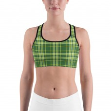 Plaid and Checkered Sports Bra, Green with Yellow Stripes for St Pattys Day