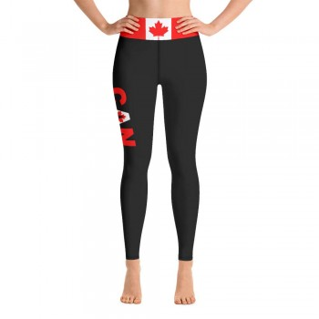 Canada Black Yoga Leggings with Canadian Flag High Waistband