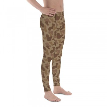 Camouflage Pattern Jungle 3 Brown Men's Camo Leggings