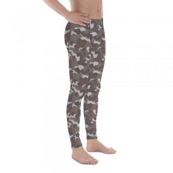 Camouflage Pattern Dark Brown WW2 Experimental Men's Camo Leggings