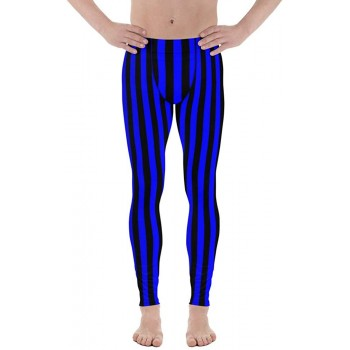 Black and Blue Striped Men's Leggings