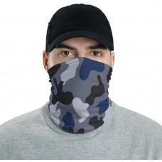 Jungle Blue & Black Camo Neck Gaiter, Headband, Neck Warmer