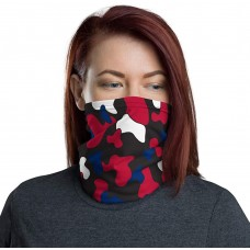 USA Red, White & Blue Camo On Black Neck Gaiter, Face Mask, Headband, Neck Warmer