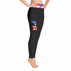 Puerto Rico Black Leggings with Puerto Rican Flag Waistband Cut & Sew Yoga Sport Leggings