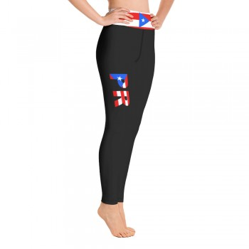 Puerto Rico Black Leggings with Puerto Rican Flag Waistband Cut & Sew Yoga Sport Leggings