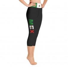 Mexico Black Yoga Capri Leggings with Mexican Flag Waistband