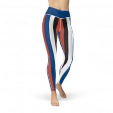Blue, Red, Black & White Vertical Striped Leggings (Korea)