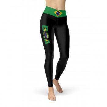 Brazil Black Leggings with Brazilian Flag Waistband Cut & Sew Sport Leggings