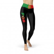 Portugal Black Leggings with Portuguese Flag Waistband Cut & Sew Sport Leggings