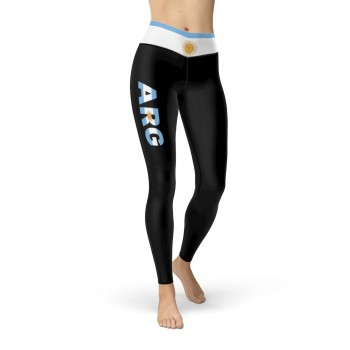Argentina Black Leggings with Argentina Flag Waistband Cut & Sew Sport Leggings