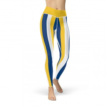 Yellow, Blue and White Vertical Striped Leggings (Uruguay)