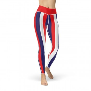 Red, Blue and White Vertical Striped Leggings (Croatia)
