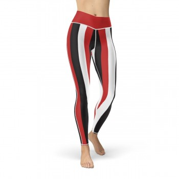 Red, Black and White Vertical Striped Leggings (Egypt)