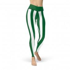 Green and White Vertical Striped Leggings (Saudi Arabia)