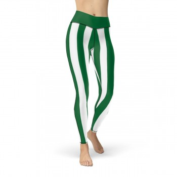 Green and White Vertical Striped Leggings (Saudi Arabia)