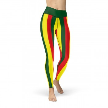 Green, Red and Yellow Vertical Striped Leggings (Portugal)