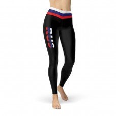 Russia Black Leggings with Russia Flag Waistband Cut & Sew Sport Leggings