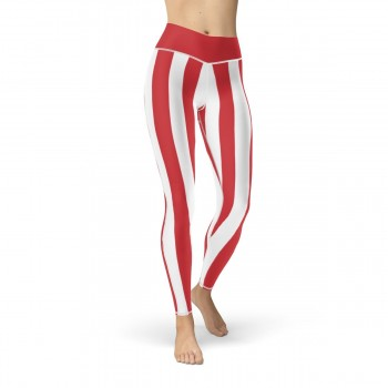 Red and White Vertical Striped Leggings (Poland)