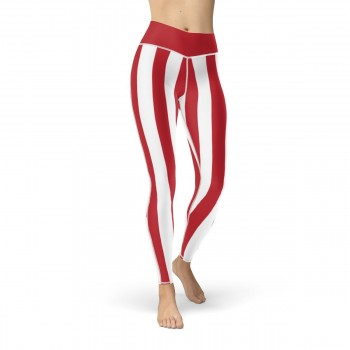 Red and White Vertical Striped Leggings (Denmark)