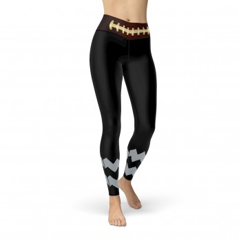 Black Oakland Football Leggings with Oakland Football Team Colors in Zig Zag