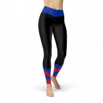 Black New York Hockey Leggings for Women New York Hockey Team Colors in Chevron Zig Zag