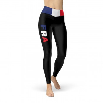 France Black Leggings with French Flag Waistband Cut & Sew Sport Leggings