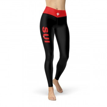 Switzerland (SUI) Black Leggings with Swiss Flag Waistband Cut & Sew Sport Leggings