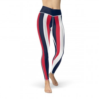 Red, White and Blue Vertical Striped Leggings (USA)