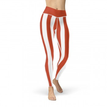 Red and White Vertical Striped Leggings (Switzerland)