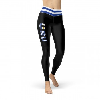 Uruguay Black Leggings with Uruguayan Flag Waistband Cut & Sew Sport Leggings