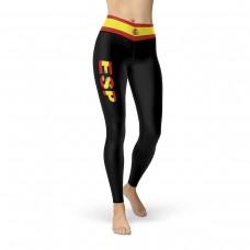 Spain Black Leggings with Spanish Flag Waistband Cut & Sew Sport Leggings