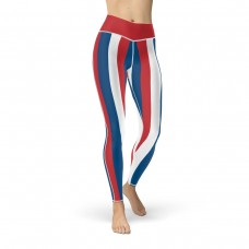 Blue, Red and White Vertical Striped Leggings (Panama)