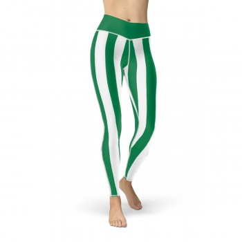 Green and White Vertical Striped Leggings (Nigeria)