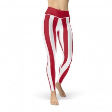 Red and White Vertical Striped Leggings (Japan)
