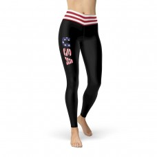 USA Black Leggings with Red & White Striped from USA Flag Waistband Leggings